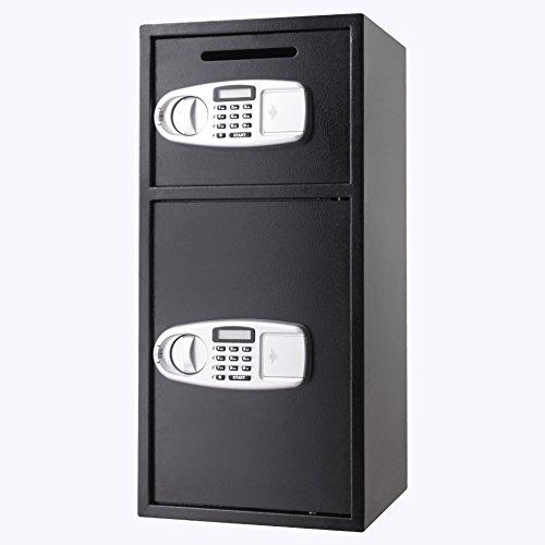 VEVOR Elektronischer Safe Tresor Doppeltüren Sicherheitsschrank 3MM Stahltür Möbeltresor Elektronikschloss Tresore für Geld Schmuck Waffen