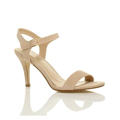 11004d26974b Femmes haute talon boucle fête élégant à lanières sandales chaussures  pointure Nude Beige Daim