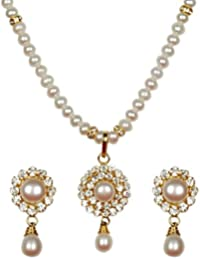 Classique Designer Jewellery Silver Alloy with Gold Plated Round Pearl Necklace Set for Women (CP186)