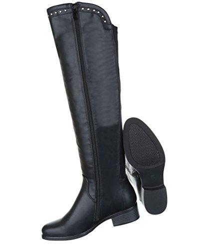 Damen Stiefel Schuhe Komfort Boots Schwarz Rot 36 37 38 39 40 41 Schwarz