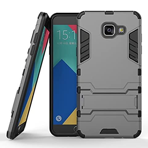 Ouluyun Couvrant Résistant Anti-choc Coque pour Samsung Galaxy A5 (2016) SM-A510F (5,2 Pouces), Robuste Housse Étui avec Béquille Hybrid Case(gris) + Gratuit Mini USB LED Light Random Colors