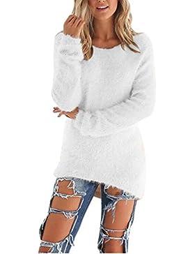 Coversolate Las Mujeres de Manga Larga de Punto Jersey Suéter Suelto Jumper Tops de Punto (M, Blanco)