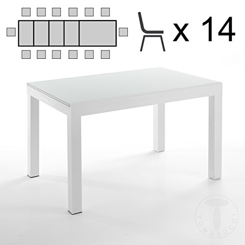 for@home Table Extensible Long – White 120/175/230/290/350 cm Verre trempé SP. 8 mm Blanc