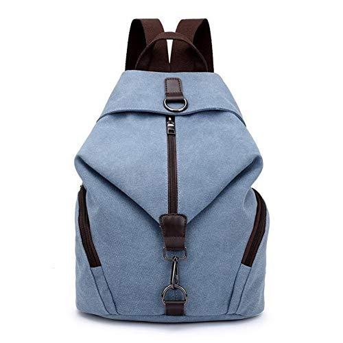 Mode Lässig Leinwand Frauen Rucksack Solide Große Kapazität Weibliche Rucksäcke Reißverschluss Reisetasche Mädchen Schulrucksack (Color : Blue, Size : M) -