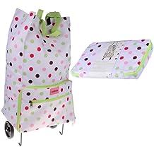 Sabichi Candy Spot - Bolsa para la compra con ruedas (plegable), diseño de lunares