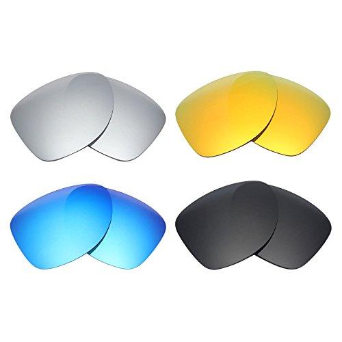 MRY 4Paar Polarisierte Ersatz Gläser für Oakley Dispatch 2sunglasses-stealth schwarz/fire rot/ice blau/silber titan