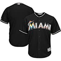 YQSB Camiseta Deportiva Baseball Jersey Ropa Deportiva de béisbol de Las Grandes Ligas de Miami Marlins Ropa Bordada de béisbol,Black,Men-M