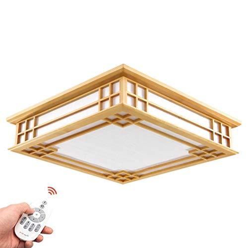 Japanisch-Art Deckenlampe Tatami Lampe Holz LED Schlafzimmer Studie Wohnzimmer Lampe Massivholz Lampe Umweltfreundliche Beleuchtung Dimmbare Fernbedienung IP20,45 * 45 * 12CM 24W