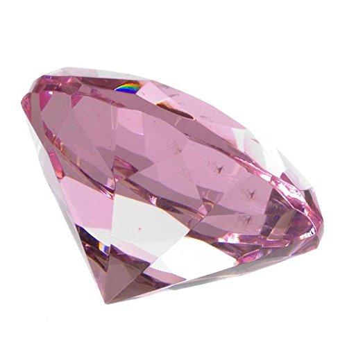 Ruby Glas Diamant Geformt Briefbeschwerer (Pink)