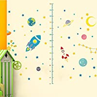 Wall Sticker, Space Planets Rocket Height Measurement Stickers - PVC Removable Wall Decals - for Kids Bedroom Nursery Baby Room Classroom
