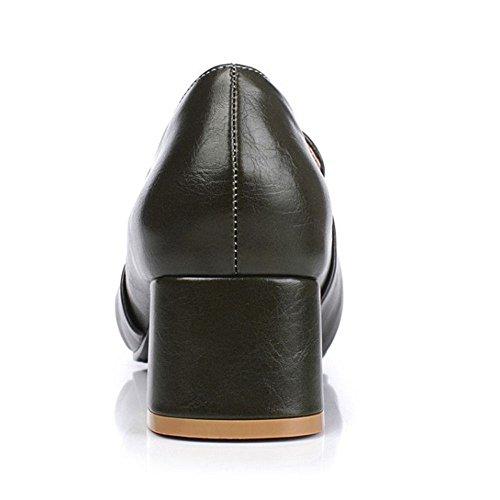 COOLCEPT Damen Klassische Buckle Belt Brogues Shoes Chunky Mid Heels Pumps Extra Sizes Green