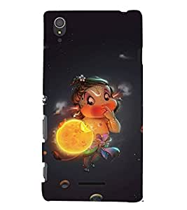 FUSON Baby Hanuman Eating Sun 3D Hard Polycarbonate Designer Back Case Cover for Sony Xperia T3