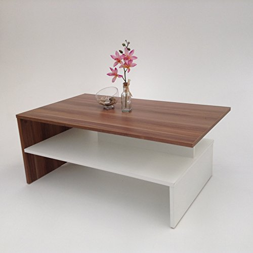 Möbel SD Couchtisch Wohnzimmertisch Kaffeetisch (SW) Nussbaum-weiß -