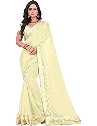 Reeva Trendz Women's Georgette Saree With Blouse Piece (Off White, Free Size)