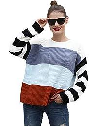 Hawiton Jersey de Mujer Manga Larga, Cuello Redondo Manga Larga Casual Suelta Oversize Suéter Superior Jersey de Punto suéter Mujer Primavera otoño,100% ACRÍLICO
