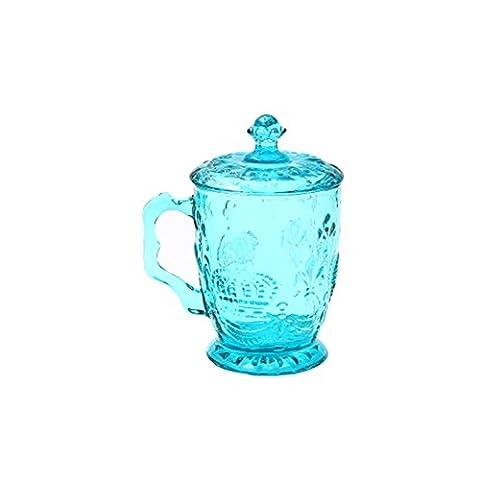 européenne rétro Bourbon Dynastie relief coloré Tasses Tasses de lait en verre Boisson Tasses Tasses à thé avec couvercle bleu