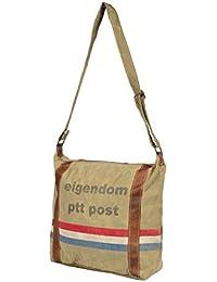 Priti Vintage Design Handbag Tote Bag Travel Bag In Washed Canvas Leather - B0791FC35M