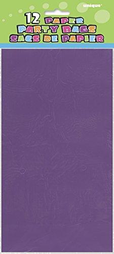Unique Party- Paquete de 12 bolsas de regalo de papel, Color morado oscuro, 30 (59006)