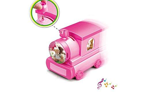 Yuloen Schöne Desktop-Dekoration Vogue-Karikatur-Zug-Spieluhr-Sparschwein mit Make-upspiegel-Handwerks-Dekoration für Kinder Geschenk-Rosa Bär