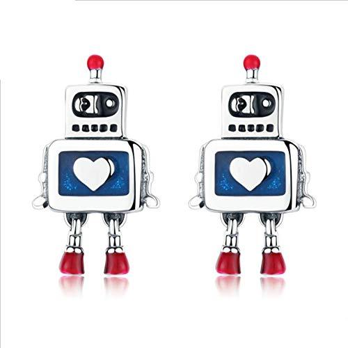 Fibre Gang S925 Sterling Silber Ohrringe Roboter personalisierte Anhänger hypoallergen Ohrringe für Damen und Mädchen