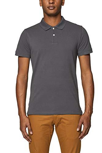 ESPRIT Herren 999EE2K803 Poloshirt, Grau (Dark Grey 020), Large (Herstellergröße: L)