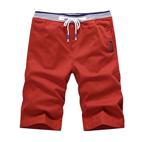 Cargo Shorts Herren Chino Kurze Hose Sommer Bermuda Sport Jogging Training Stretch Shorts Fitness Vintage Regular Qmber,Einfarbige Strandshorts/Orange,4XL -