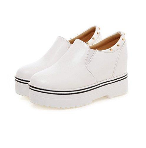 AllhqFashion Damen Pu Leder Hoher Absatz Rund Zehe Eingelegt Ziehen Auf Pumps Schuhe Weiß