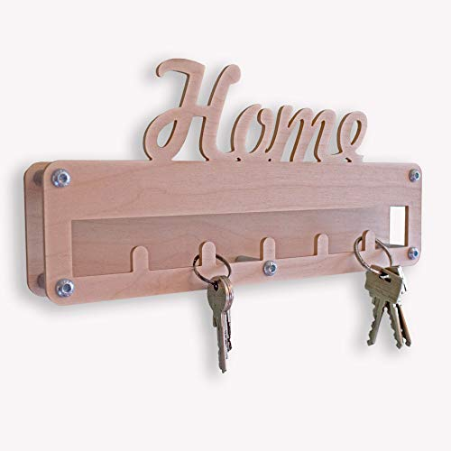 INEXTERIOR Schlüsselleiste aus Holz - in Deutschland gefertigt - mit Schriftzug Home - 30x14cm - Schlüsselbrett Schlüsselboard Schlüsselhaken Hakenleiste Flur Diele