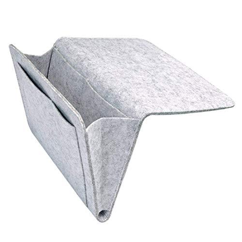 WOFALEGOGO Anti-Rutsch Nachttisch-Caddy Tasche Betttasche Bett Sofa OrganizerHanging Organizer Tasche für Buch Handys Tablets Schrank TV Remote Brille Magazin (Grau)