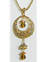 DollsofIndia Yellow Stone Studded Pendant With Chain - Stone And Metal (EK75-mod) - Yellow
