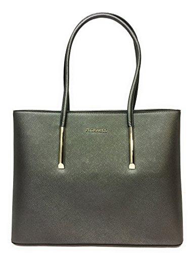 CAPRIUM Hochwertige Handtasche Henkeltasche Tasche Schultertasche, Damen 000F5717 (Grau Metallic) (Schnalle Metallic Handtasche Gold)