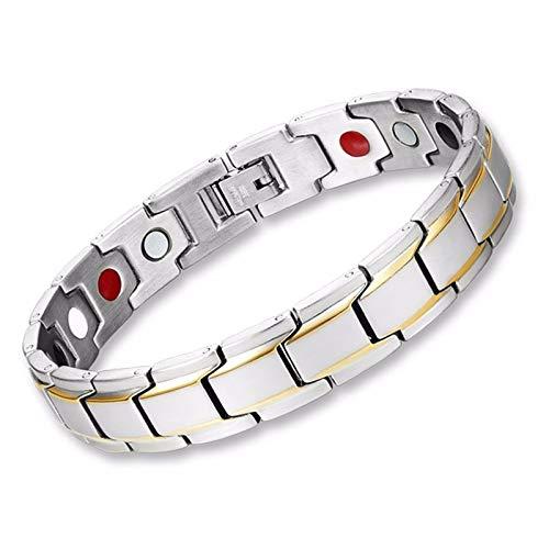 Cats coppia popolare metallo categoria fibbia catena di figaro bracciale a catena bracciale in acciaio da uomo in titanio con cinturino in acciaio nero magnetico, oro placcato 18k / cn
