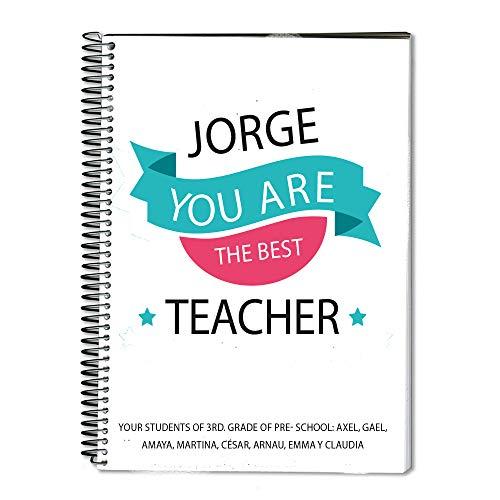 Regalo para profesores personalizable: cuaderno personalizado con su nombre ('Mejor profe')