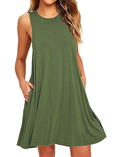 Tinta Unita Vestito da Donna Abito Senza Maniche Mini Abito con Tasca Dress de Cocktail Maglietta Allentata Tops Army Green
