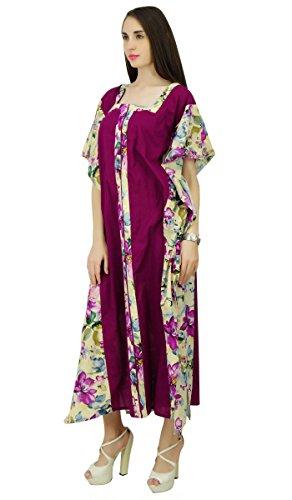 Phagun Blumen Kaftan Baumwolle Bohemian Kaftan lange Maxi-Kleid Nachtwäsche Lila und Hellblau
