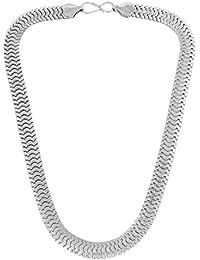 DzineTrendz Flat Snake Body Design Rhodium Plated Brass Necklace Stylish Fashion Chain Necklace For Men