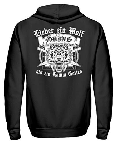 Wolf Odins Als EIN Lamm Gottes Wikinger Vikings Walhalla Germanen Pullover - Unisex Kapuzenpullover Hoodie -L-Jet Schwarz ()