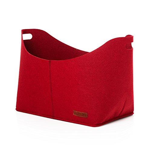 sche aus Filz Holztasche Filztasche oval ca. 40 x 25 x 28 cm Rot (Rote Körbe)