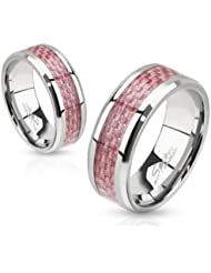 Paula & Fritz acero inoxidable Anillo Plata Colour rosa carboxílico embutido alto pulido disponibles anillo tamaños 47 (15) - 69 (22)