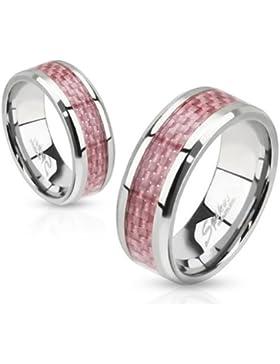 Paula & Fritz® Ring aus Edelstahl Chirurgenstahl 316L mit Band aus pinken Carbonfibern verfügbare Ringgrößen 47...
