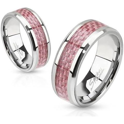 Paula & Fritz acero inoxidable Anillo Plata Colour rosa carboxílico embutido alto pulido disponibles anillo tamaños 47 (15) - 69