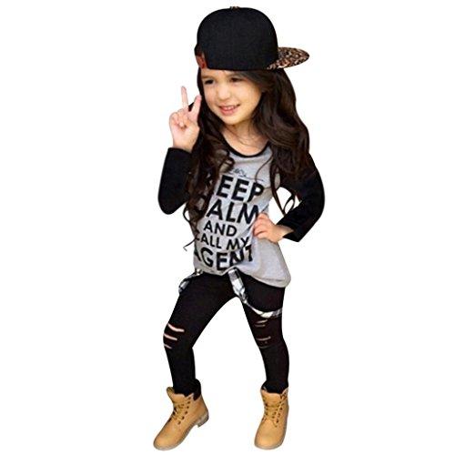 Amlaiworld Kleinkind Mädchen Outfit Kleidung Print T-Shirt Tops + Lange Hosen Hosen 1Set (100, Gray) (Set Winter Hose Bestickte)