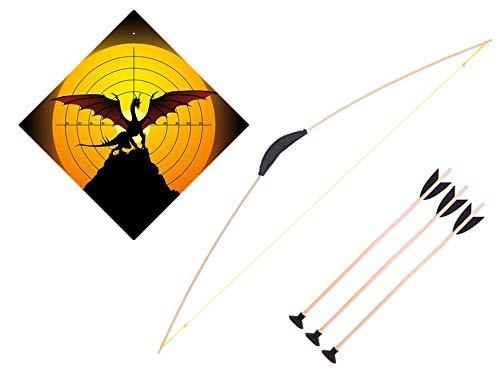 filounior Pfeil und Bogen aus Holz + Zielscheibe vers. Motive Bogenschießen Set mit Saugnapf (Drache)