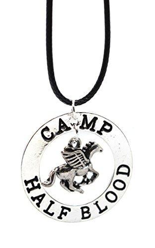 El último campamento Olímpico de Percy Jackson Mestizo Pegasus Zeus media sangre en Caja de Regalo Collar