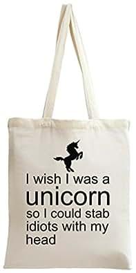 I Wish I Was A Unicorn Slogan Tote Bag
