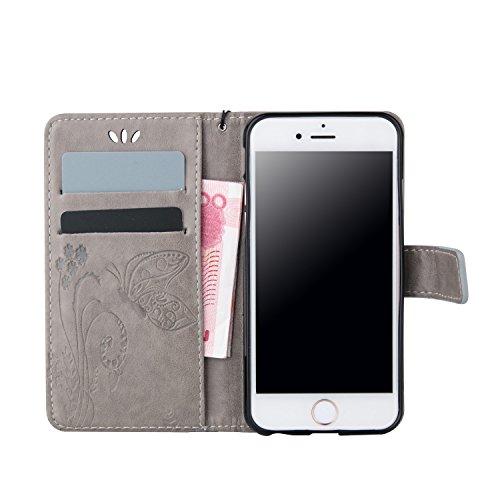 iPhone SE Hülle, iPhone 5S Hülle, iPhone 5 Hülle, SainCat PU Leder Hülle Tasche Handyhülle im Bookstyle Brieftasche Case Premium Design Luxus Weich Ledertasche mit [Kartenfach] [Standfunktion] [Magnet Grau