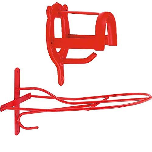 Cajou Set aus Sattelhalter und Trensenhalter sehr stabil und robust (rot)