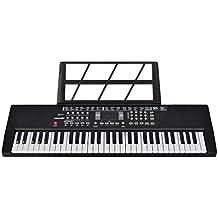 Foxom Piano para niños, 61 Teclas Electrónico Teclados Piano con Micrófono Partitura de Pie Piano