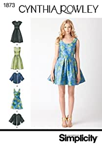 Simplicity Pattern 1873R5 Cynthia Rowley Collection Misses and Miss Petite Dresses Size, 14-16-18-20-22