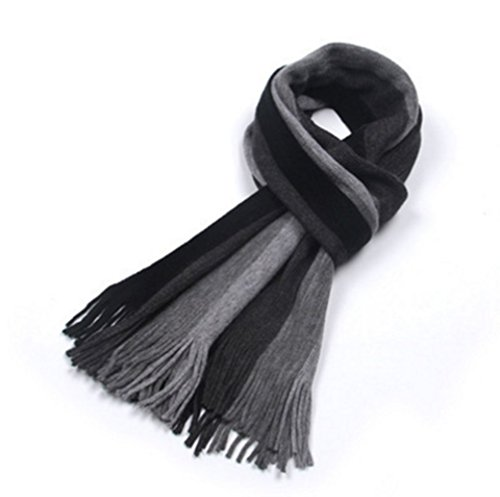 DA BODAN Autumn and Winter Korean Style Men Trend Leisure Thick Long Striped Cashmere Scarves (Black and grey)